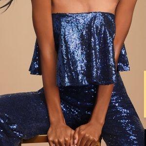 Lulus Dancing Dream Royal Blue Sequin Jumpsuit